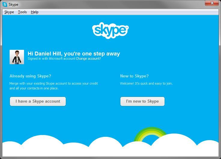 Skype options to merge or upgrade Microsoft account