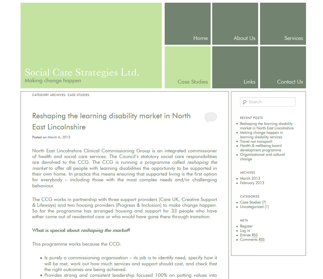 Case Studies page for Social Care Strategies