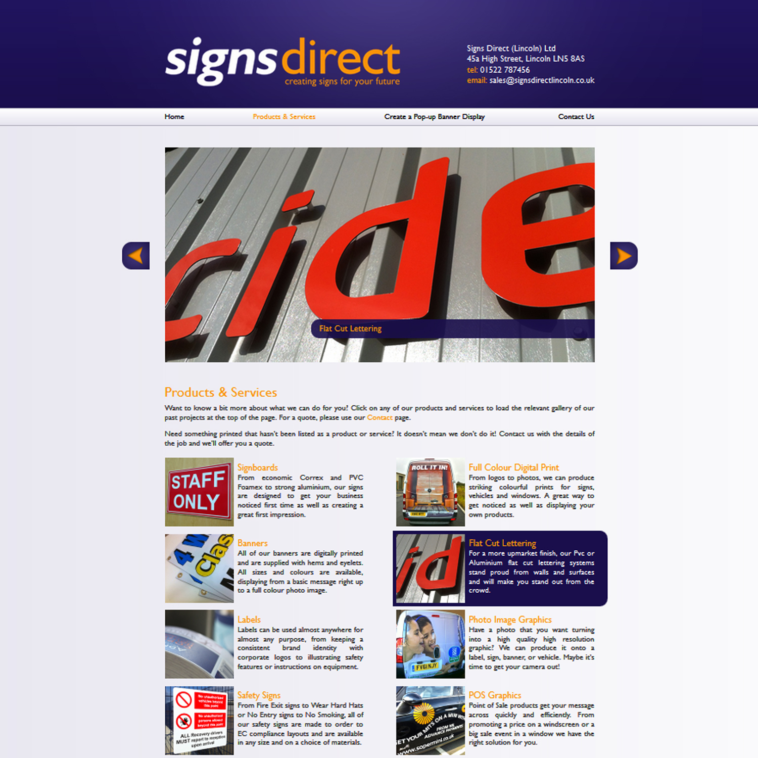 Screenshot of the Products & Services page for Signs Direct Lincoln